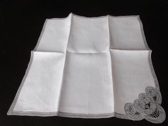 Gray Hand Made Belgian Lace Dinner Napkins Set Of 6 Decoration Image 1