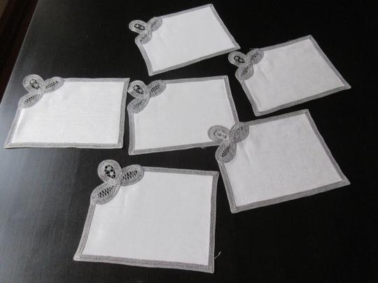 Gray Hand Made Belgian Lace Dinner Napkins Set Of 6 Decoration Image 6