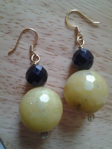 Handmade NEW Handmade Genuine Gemstone Serpentine and Faceted Vintage Black Glass Beaded EARRINGS Buy3Get1FREE!