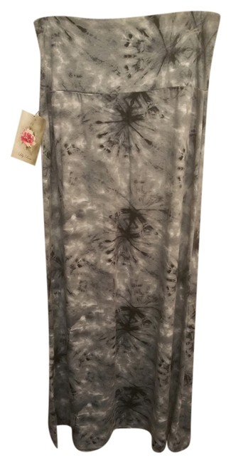 Lily Rose Date Night Night Out Maxi Skirt black grey tie dye