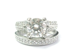 A Jaffe A Jaffe Platinum Round Cut Diamond Engagement Set 2.82CT GIA