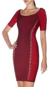 Herv Leger short dress Burgundy on Tradesy