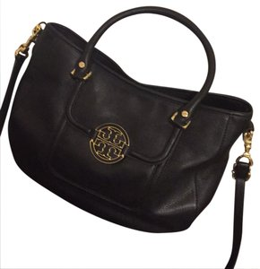 Tory Burch Black and Gold logo. Messenger Bag