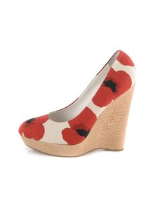 Saint Laurent Ysl Platform Poppy Canvas Red White Wedges