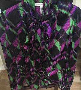 Diane von Furstenberg Tie Geometric Print Silk Top Black/Purple/Green