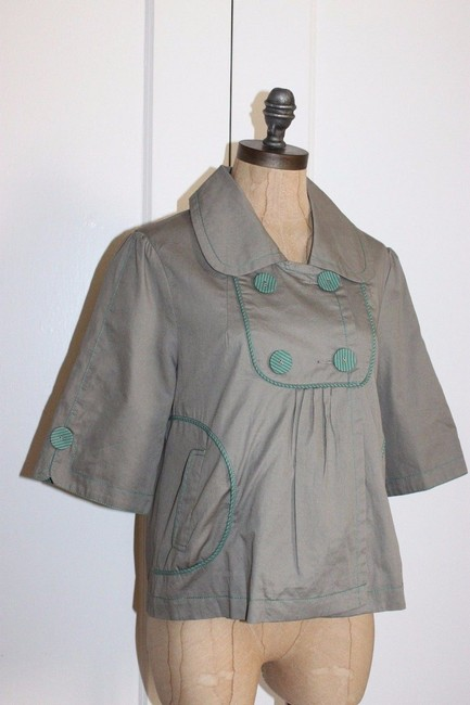 Anthropologie Hazel Piping GREEN Jacket Image 6