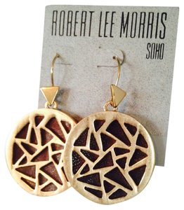 Robert Lee Morris Soho Gold-Tone Brown Leather Geometric Cutout Drop Earrings