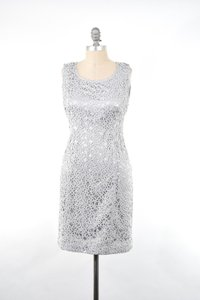 Jones New York Metallic Lace Slimming Sheath Cocktail Dress