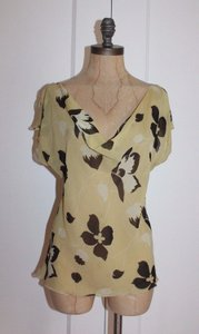 Betsey Johnson Cowl Neck Sheer Silk Printed Floral Top YELLOW