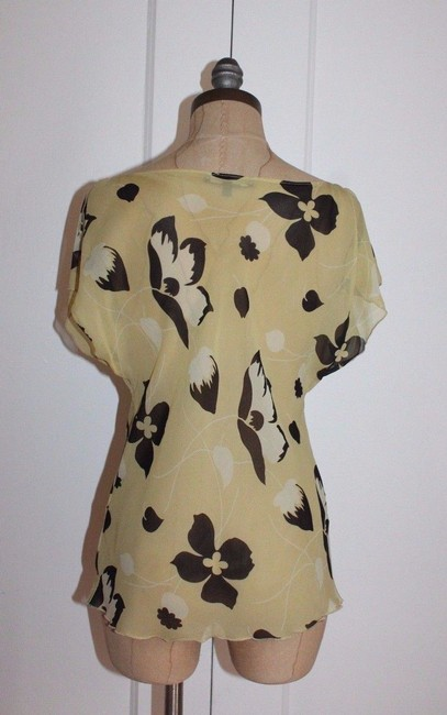 Betsey Johnson Cowl Neck Sheer Silk Printed Floral Top YELLOW Image 1