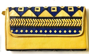 Anthropologie Leather Woven Strap Yellow/Black/Blue Clutch