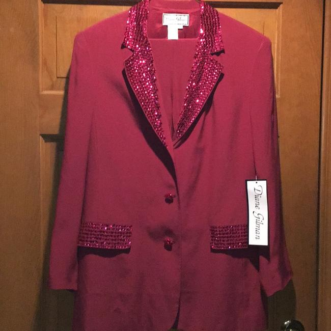 Item - Wine Silk and Sequin Pant Suit Size 8 (M)