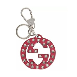 Gucci Interlocking GG Studded Red Leather Key Ring