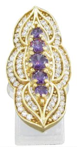 Modern Vintage 925 Sterling Amethyst and Topaz Vintage ring