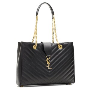 Saint Laurent Ysl Matalesse Chevron Tote in black