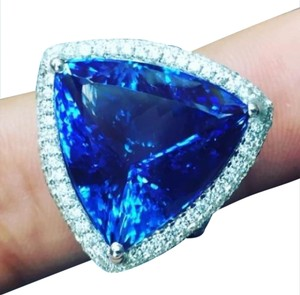 Other 18Kt Trillion Cut Vivid Tanzanite Diamond White Gold Jewelry Ring 22.1