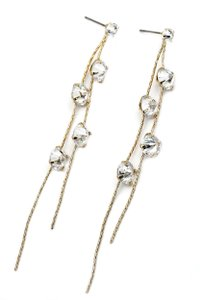 Ocean Fashion Fashion crystal double wire gold earrings