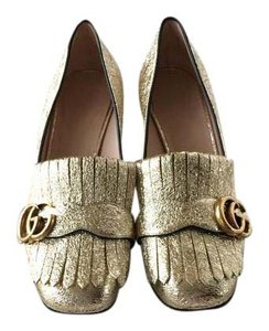 Gucci Marmont Leather Padded Insoles Gold Pumps
