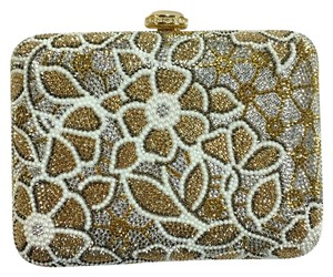 Judith Leiber Gold, White & Silver Clutch