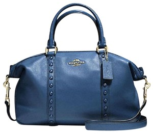 Coach Studs Goldtone Hrdw Leather Satchel in Blue