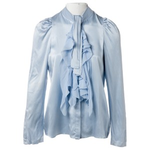 Givenchy Light Ruffles Silk Top Blue