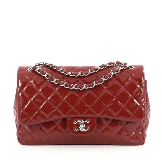 Item - Double Flap Jumbo Red Patent Leather Shoulder Bag