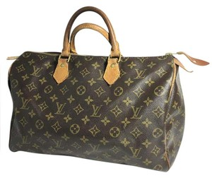 Louis Vuitton Lv Speedy 35 Lv Monogram Lv Speedy 35 Lv Travel Satchel in Brown