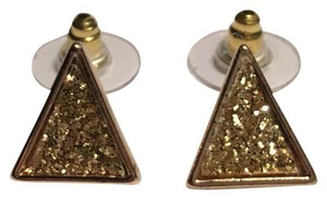 Guess Glitter Gold Tone Stud Earrings