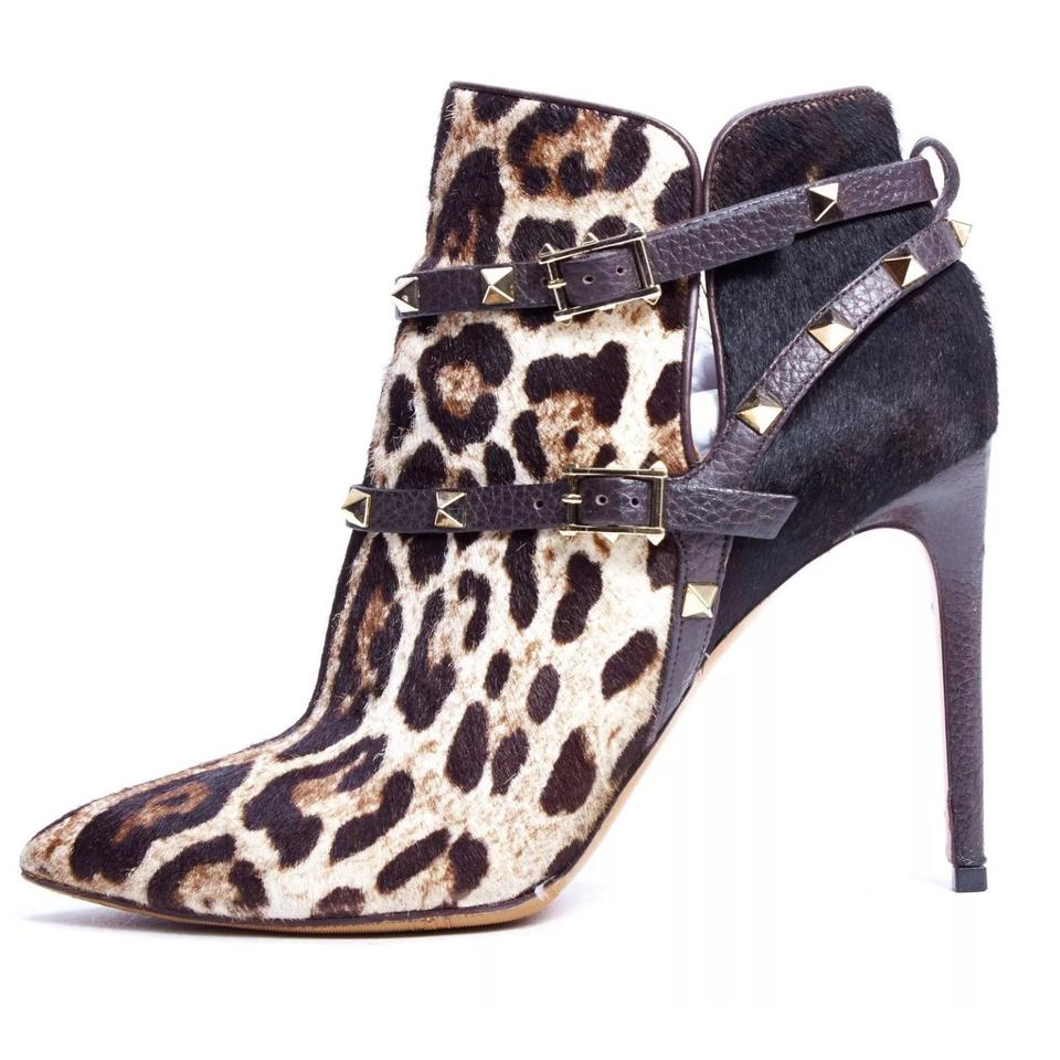Valentino Ankle Brown Leopard Calf-hair Studded Ankle Valentino 39.5eu/8.5us Boots/Booties e6695b