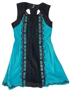 Free People short dress Blue Embroidered Lace Sleeveless on Tradesy