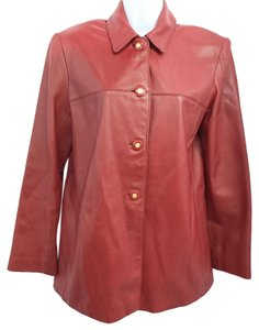 St. John Red Leather Leather Jacket