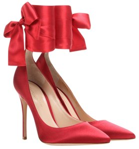 Gianvito Rossi Stain Bow Lace Up Heels Red Pumps
