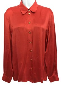 Escada Red Silk Blouse Button Down Shirt