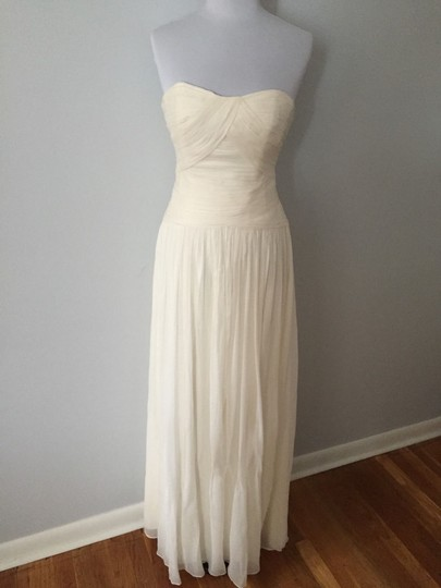 J.Crew Ivory Silk Chiffon Ava Feminine Wedding Dress Size 12 (L) Image 5