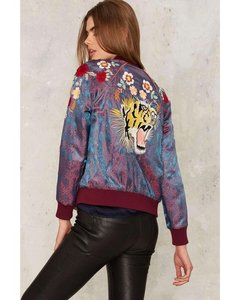 Nasty Gal Embroidered Embellished Reversible Satin Jacquard Military Jacket