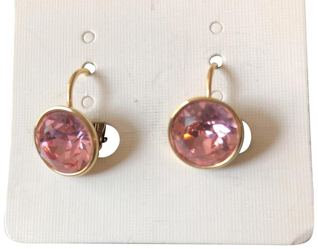 Pink Rose Round Drops/Yellow Gold Tone Setting Earrings Pink Rose Round Drops/Yellow Gold Tone Setting Earrings Image 1