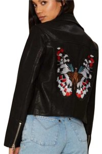 Nasty Gal Embroidered Patchwork Embellished Vegan Faux Leather Motorcycle Jacket