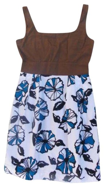 Item - Brown Blue Floral Sleeveless Short Casual Dress Size 6 (S)