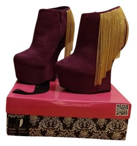 J.C. Dossier Suede Chain Date Night Night Out Hidden Platform Platform Purple Boots