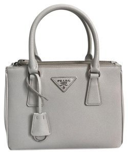 Prada Leather Strap Logo Tote in White
