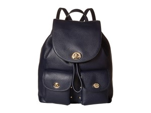 Coach Turnlock Tie / Mini Pebbled Leather Backpack
