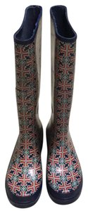 Tory Burch Blue and Red Boots