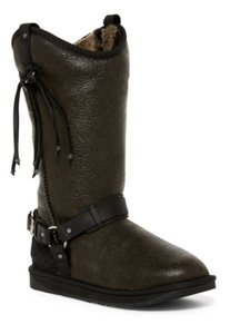 Australia Luxe Collective Shearling Round Toe Fringe Leather Suede Distressed Black Boots