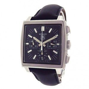 TAG Heuer Tag Heuer Monaco CW2111-0 Stainless Steel Chronograph Black Leather