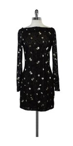 Diane von Furstenberg short dress Black Lace Beaded Long Sleeve on Tradesy
