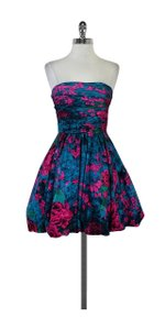 Tracy Reese short dress Blue & Fuchsia Floral Print Silk Strapless on Tradesy