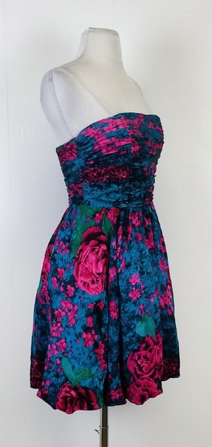 Tracy Reese short dress Multi Blue & Fuchsia Floral Print Silk Strapless on Tradesy