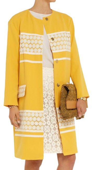 Preload https://img-static.tradesy.com/item/20934809/moschino-yellow-crocheted-lace-panelled-twill-coat-jacket-size-4-s-0-1-650-650.jpg