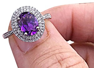 9.2.5 2.50ctw amethyst & white topaz solid sterling silver halo ring