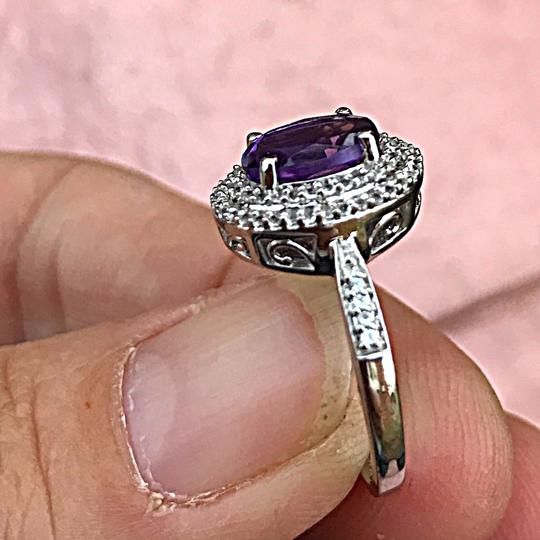 Other SALE2.50ctw amethyst & white topaz solid sterling silver halo ring